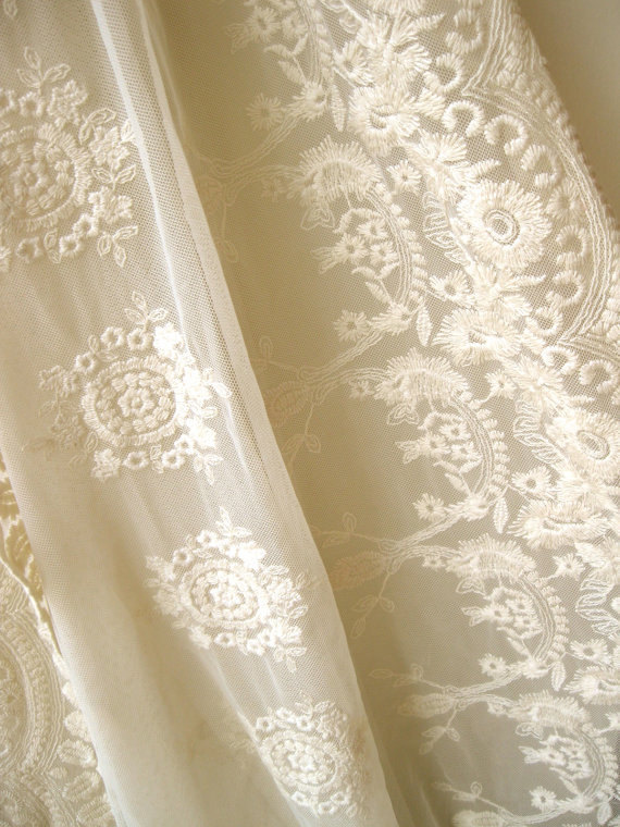 Ivory Lace Fabric Embroidered Tulle Lace Fabric By Lacefun