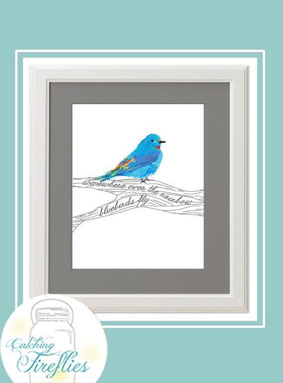 Somewhere Over The Rainbow Bluebirds Fly 8 X 10 Print Instant Download Rainbow Wall Art Blue Bird Art Blue Bird