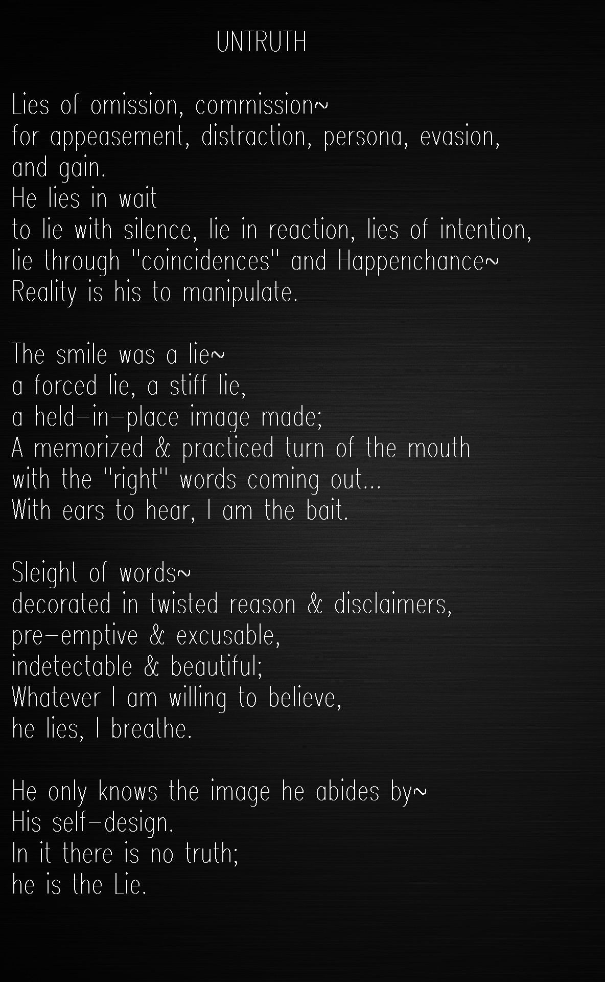 Poem About Love And Lies