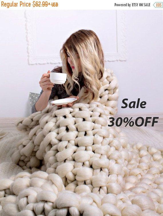 sommer sale super chunky knit decke stricken chunky decke chunky strick klobigen decke. Black Bedroom Furniture Sets. Home Design Ideas