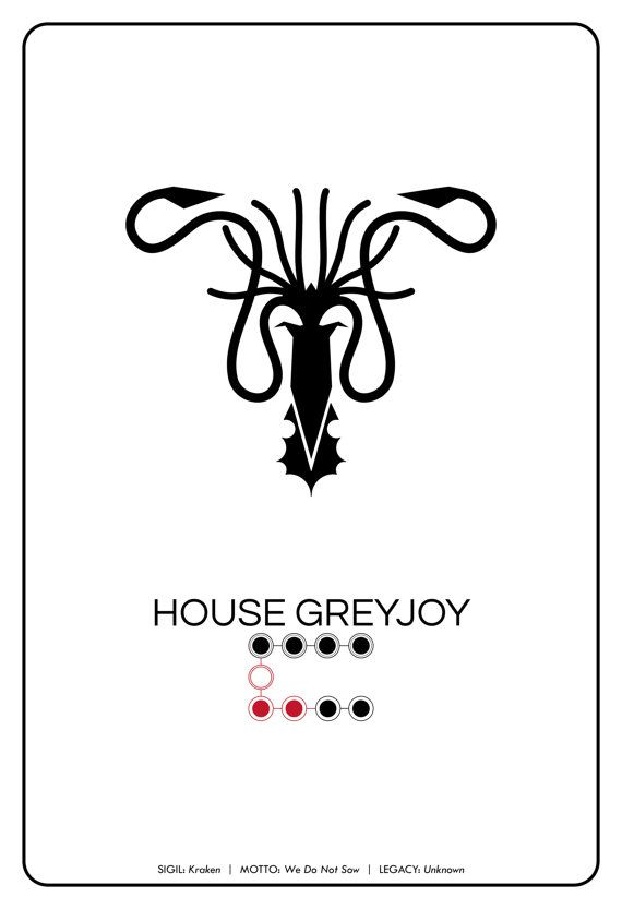 Spoilers House Greyjoy Kraken Sigil Pictogram By Thegeekerie