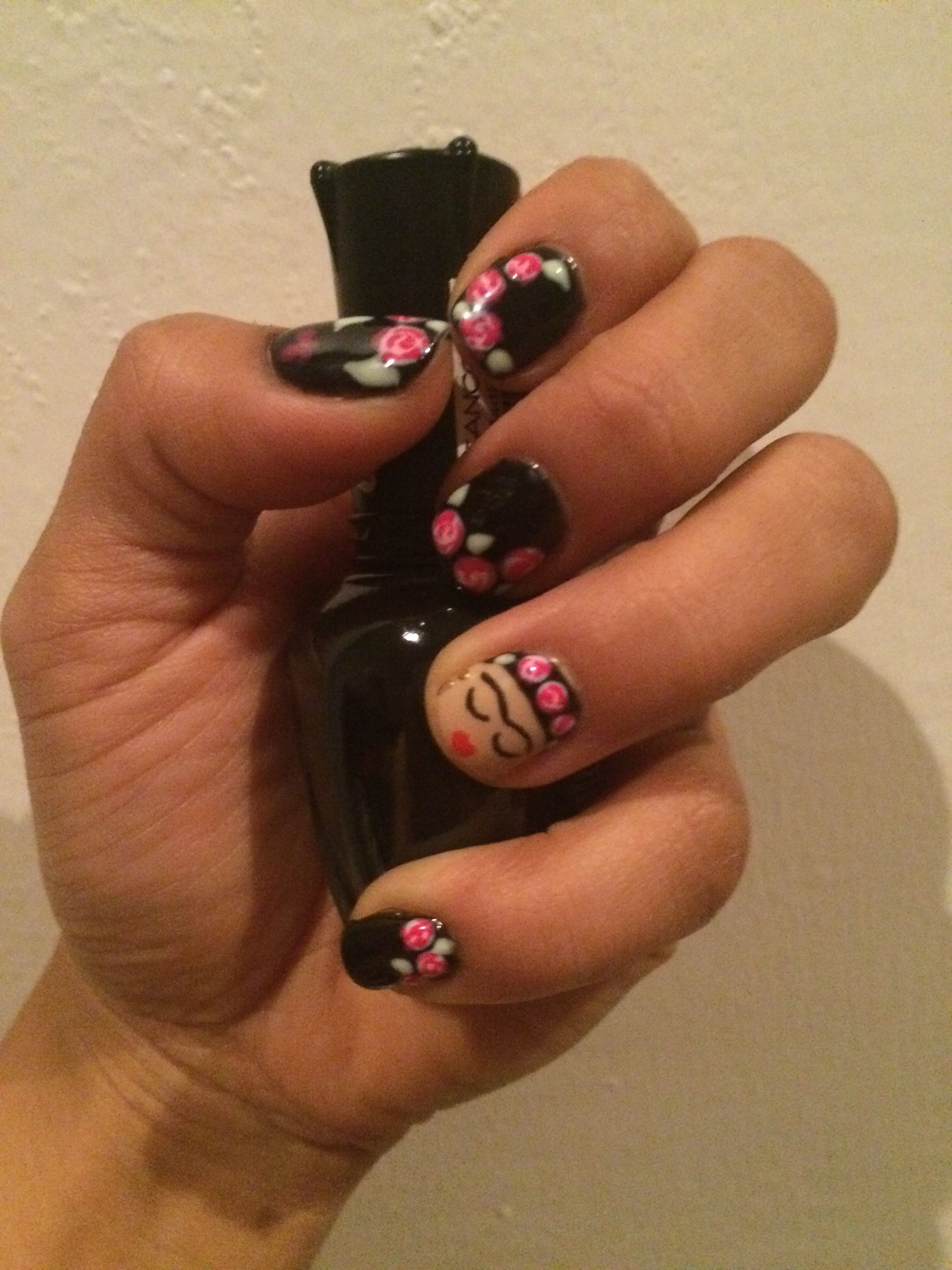 nails #Kahlo #art #gelish #girls #pink #black   Frida Kahlo ...