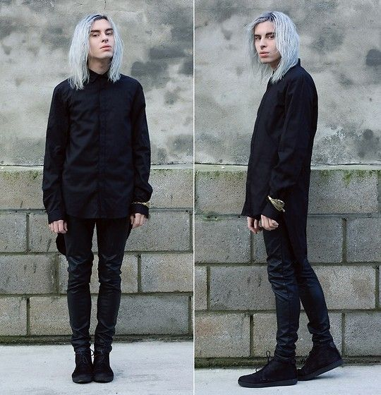 Black Shirt, Primark Black Leather Pants, Taagu Braclet