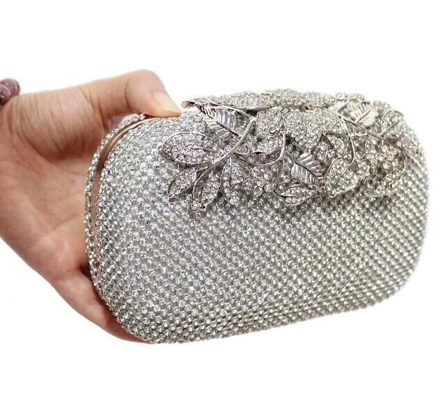 Metal Flower Crystal Evening Bag Clutch Bags Clutches Wedding Purse Rhinestones Handbags Silver Gold Black