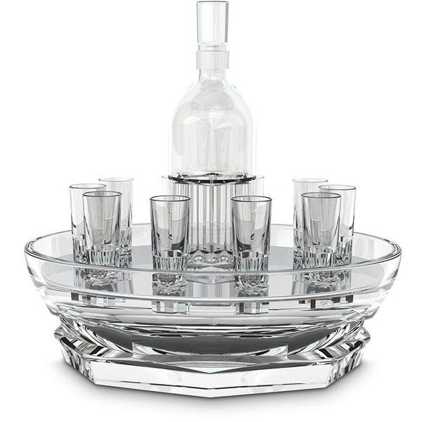 Baccarat Harcourt Abysse Crystal Vodka Set (9,835 CAD) ❤ liked on Polyvore featuring home, kitchen & dining, bar tools, crystal decanter, vodka decanter, vodka glass, vodka glasses and crystal glass decanter