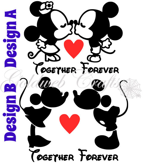 Kissing Minnie and Mickey Inspired Vinyl Car Decal | Disneyland ...