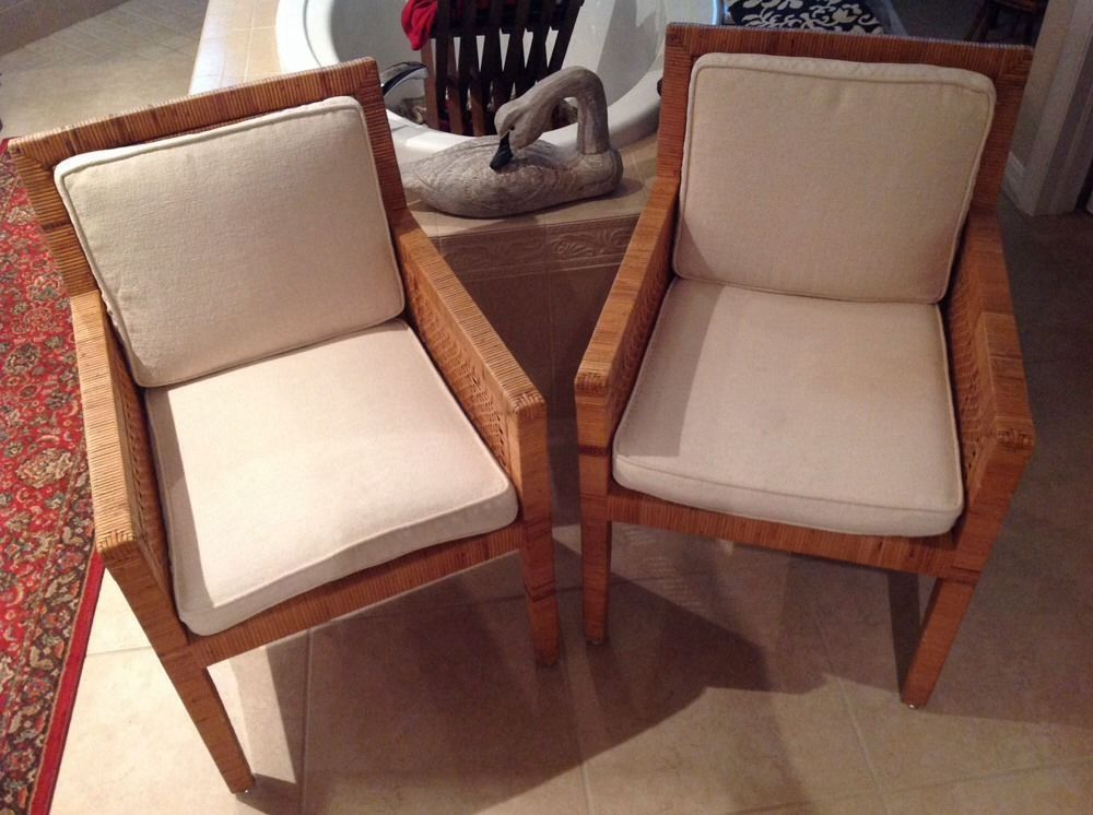 Bielecky Brothers Rattan Chairs C7651 High End Billy Baldwin Designer Hand  Made