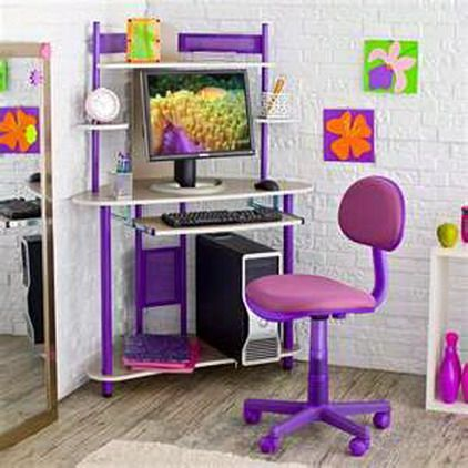 purple kids computer desk and chair with storage for small bedroom