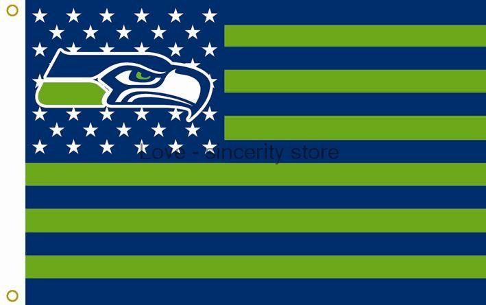 Seattle Seahawks 3 X 5 Huge Banner Stars Stripes Flag Seattle City Seattle Seahawks City Skyline