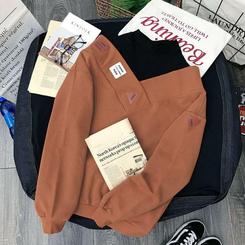 Paris Turtle Sweater Mocca Mat Fleece Spandek Sablon 65rb Sweater Jaket Wanita Fleece