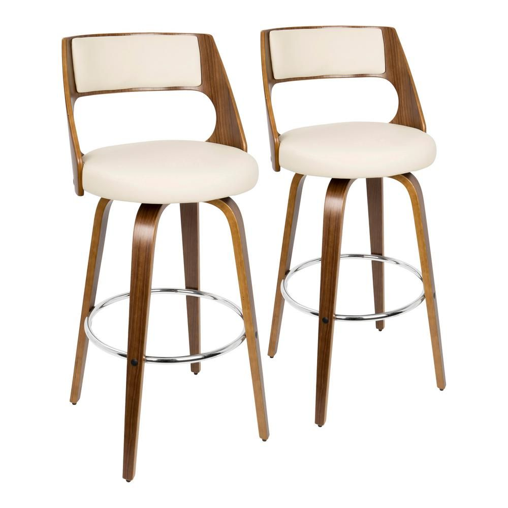 Lumisource Cecina 30 In Walnut And Cream Faux Leather Bar Stool