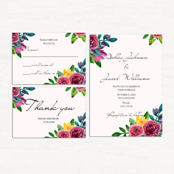 Floral wedding set template Flowers invitation by CardsForWedding