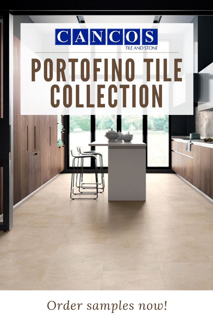 Cancos Tile Stone Portofino Tile Collection Floor Tile In Kitchen Design Island With 2 Stools In Center Of Galley Kitchen In 2020 Kitchen Design Kitchen Tiles Tiles