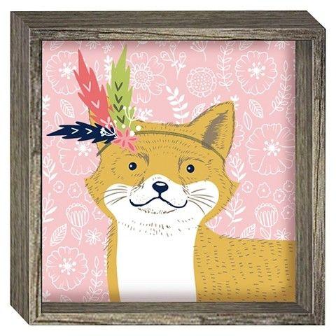 Fox Framed Art Pillowfort Themed Kids Room Arrow Wall Art Pillow Fort