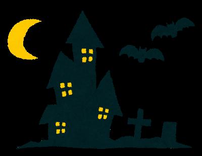 ハロウィンのイラストお化け屋敷とコウモリ Halloween