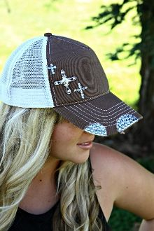 Swarovski Cross and Charm Trucker hat Country Hats df68bd54db5