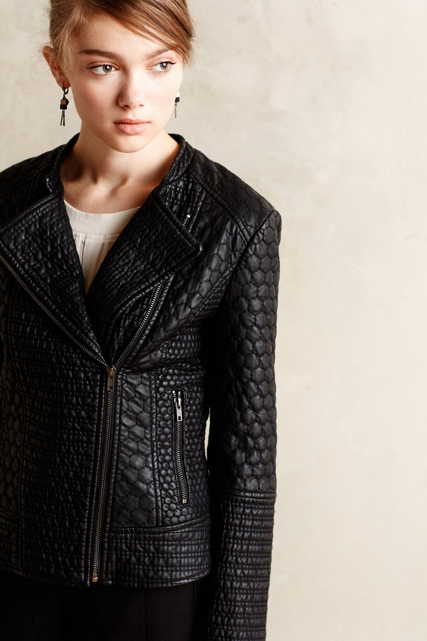 Honeycomb Quilted Vegan Leather Jacket Vegan Leather Jacket Leather Jacket Vegan Leather