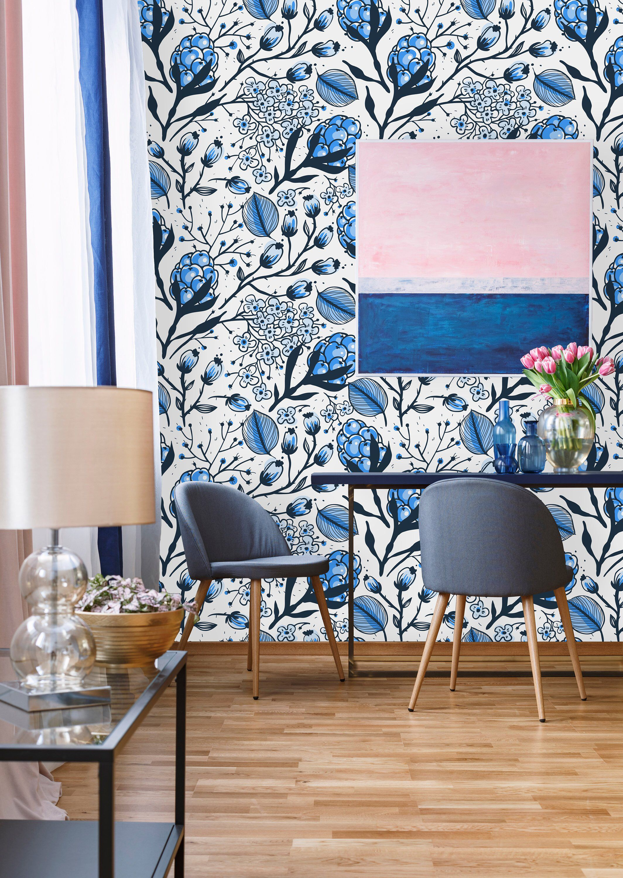 Removable Wallpaper Peel And Stick Wallpaper Self Adhesive Etsy Dining Room Wallpaper Blue Wallpaper Living Room Removable Wallpaper