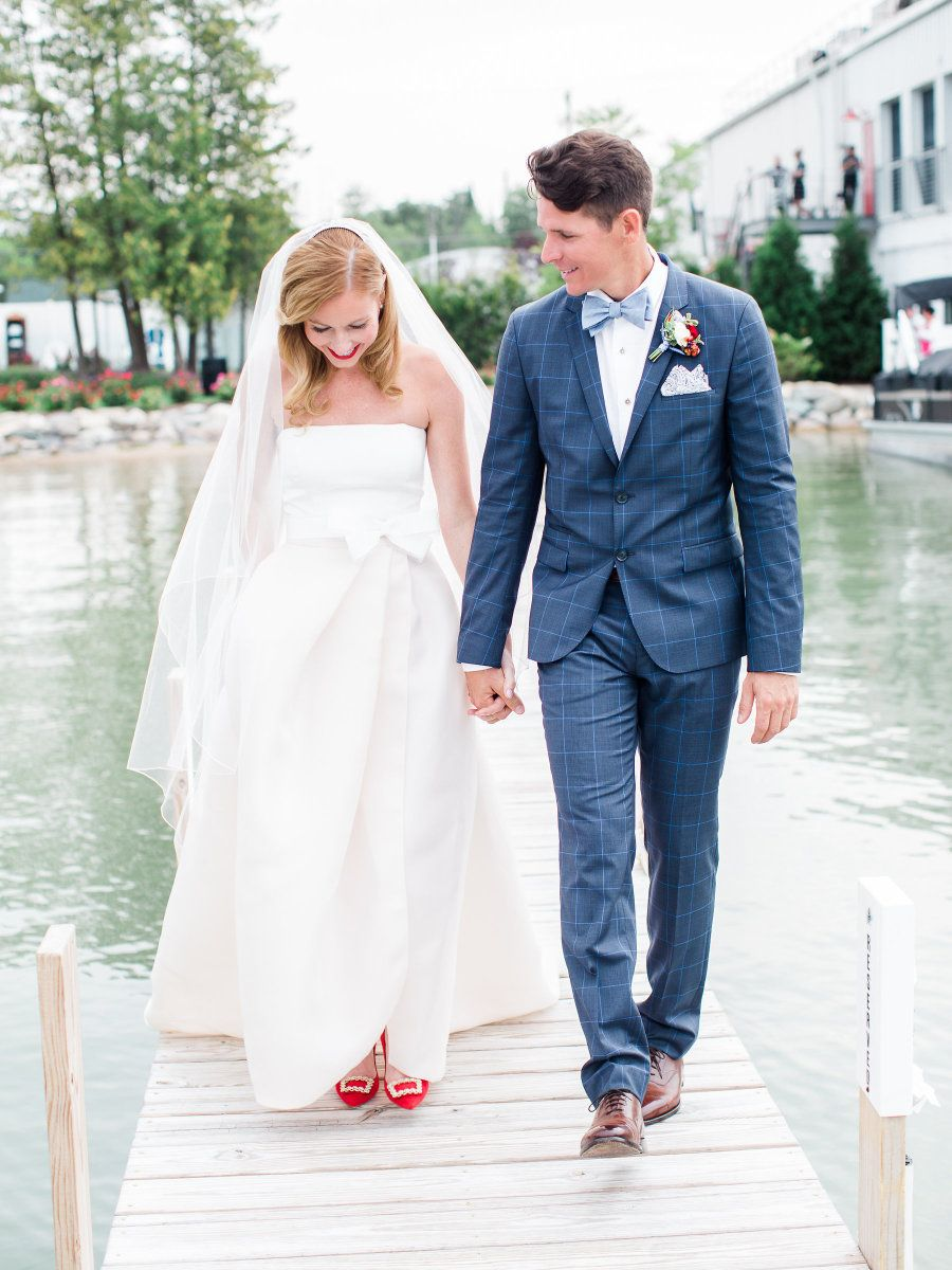 Americanastyle michigan wedding by the water hugo boss suit