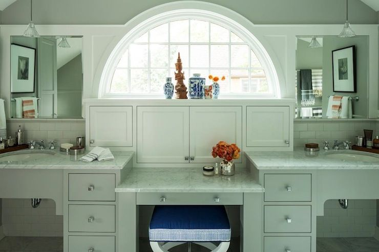 Gorgeous bathroom design with double vanity and drop down make-up ...