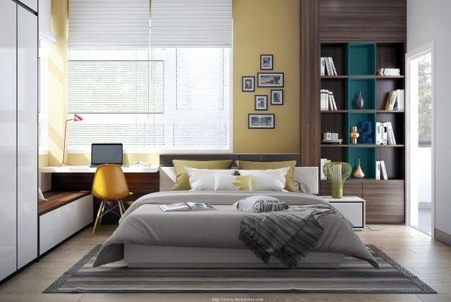 kleines schlafzimmer modern schreibtisch neben dem bett - Kleine Schlafzimmerideen Mit Lagerung