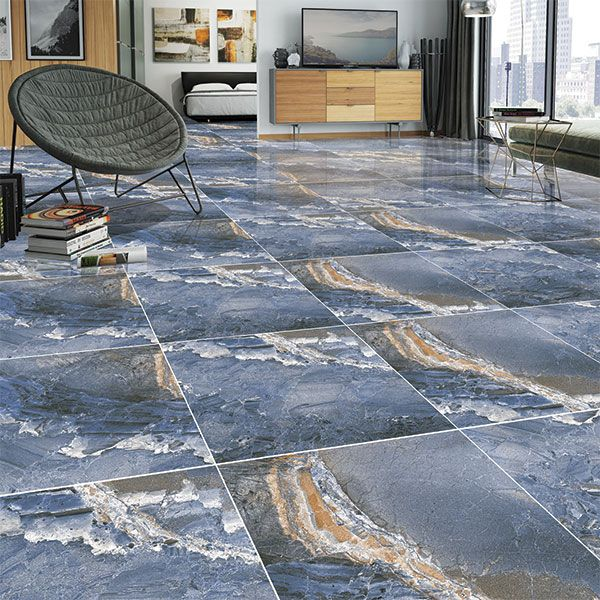 Kajaria Glazed Porcelain Tile Blue Granite Finish Porcelain Tile