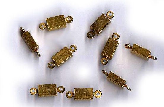 vintage BRASS CONNECTOR findings chunky small rectangles NINE russian gold plate connectors loop on each end by beadtopiavintage on Etsy