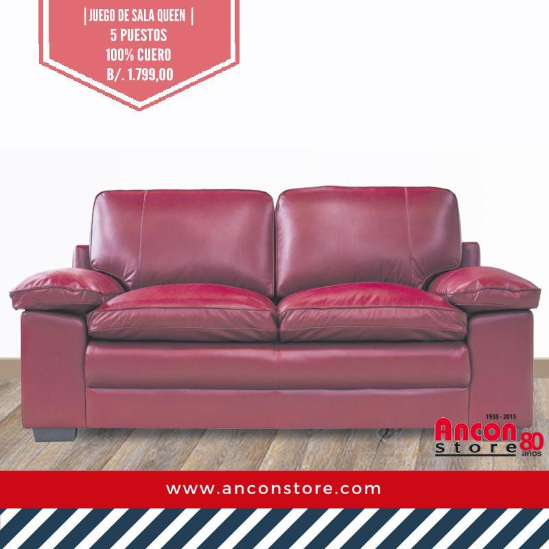 Salas| Juego de sala de 5 puestos | 100% #cuero | Disponible en rojo ...