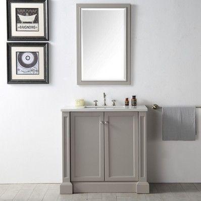 Alexis 36 Transitional Single Sink Bathroom Vanity in Warm Grey