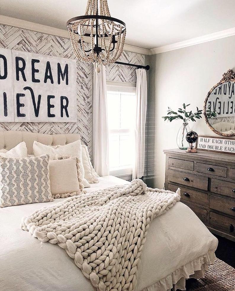 Herringbone Wallpaper Peel And Stick Wallpaper Removable Etsy Rustic Bedroom Decor Home Decor Bedroom Guest Bedrooms