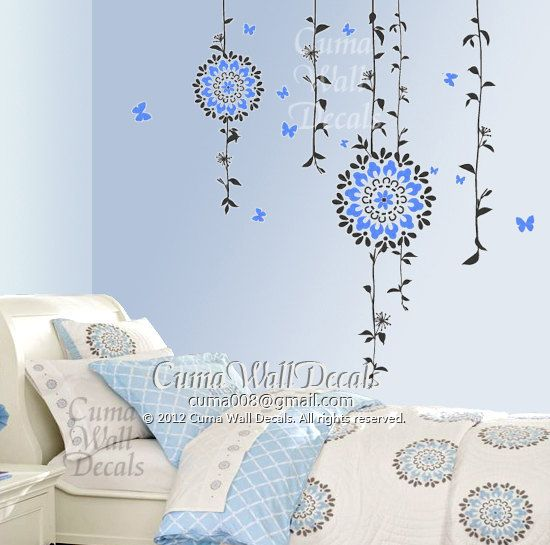 Flower Wall Decals Tree Vinyl Wall Decals Butterfly Sticker - Vinyl wall decals butterflies
