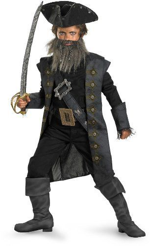 Black Beard Deluxe Child Costume Disguise. $20.78. Size: Child M(7-8), L(10-12), XL(14-16). Hand Wash. Facial Hair and hat included. polyester. Contains 7 pieces. Deluxe costume. From Pirates of the Caribbean: On Stranger Tides