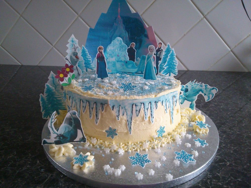 Disney Frozen Ice Castle Scene Wafer Edible Cake