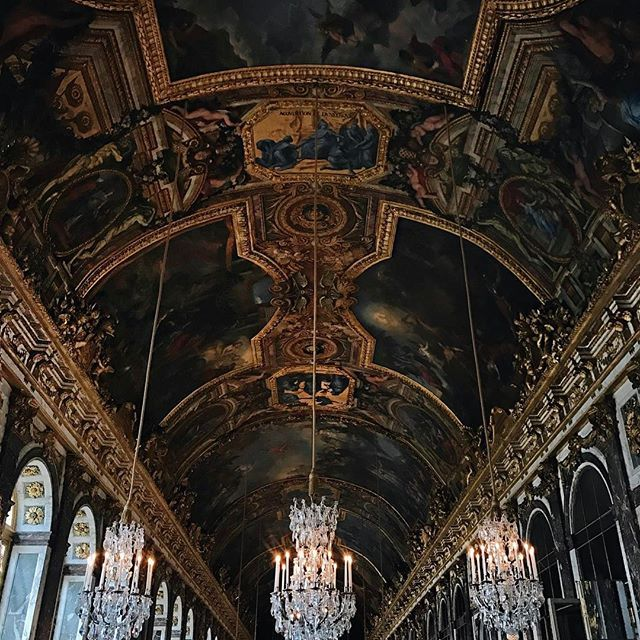 Chandelier shopping. Just kidding, inside the Hall of Mirrors at #Versailles