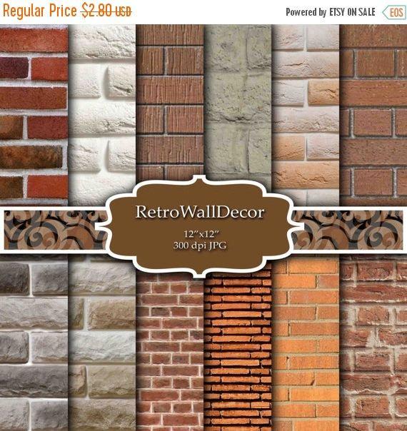 Brick Digital Paper Brick Background Digital Brick Wall Etsy Brick Wall Backdrop Brick Backdrops Brick Texture