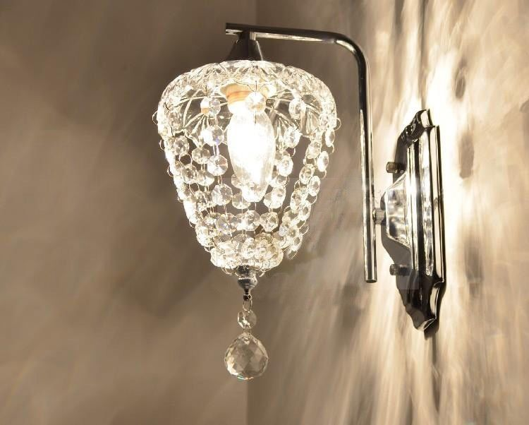Bathroom Chandelier Sconces modern crystal 1 light bath / wall sconce with iron wall mount