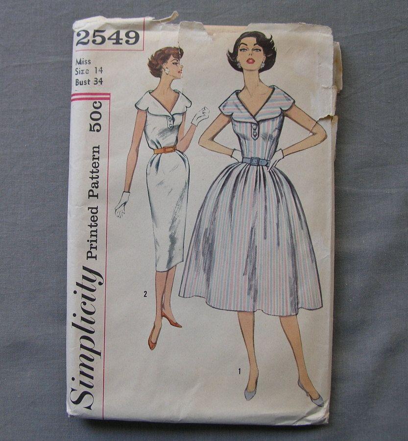 Fabulous Vintage 50s Misses Dress Pattern WIDE COLLAR DRESS