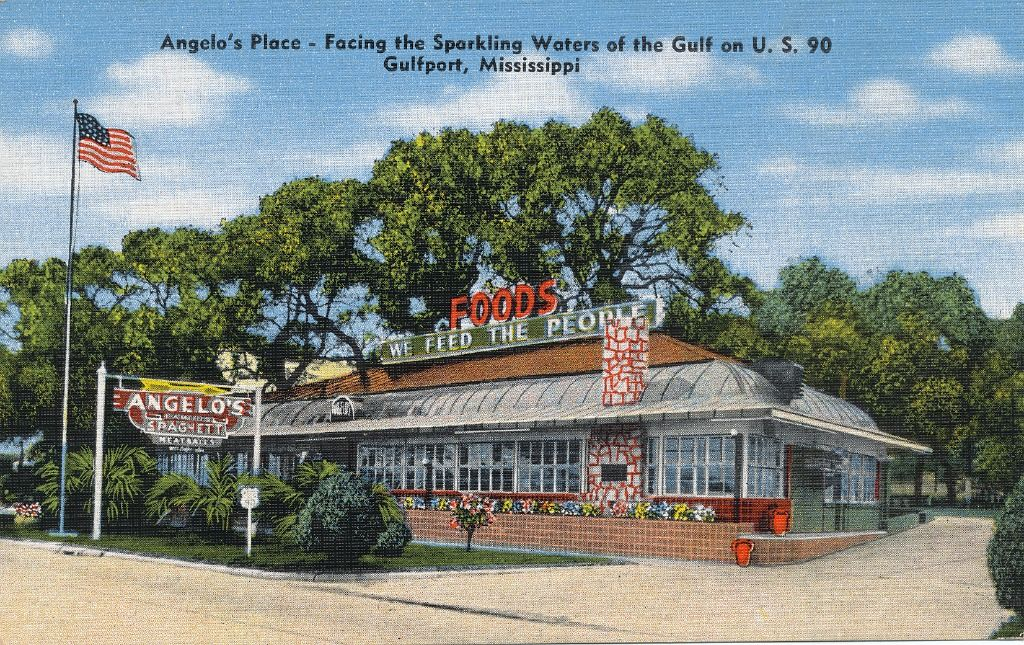 Vintage Postcard Of Angelo S Spaghetti In Gulfport Ms Ms Gulf