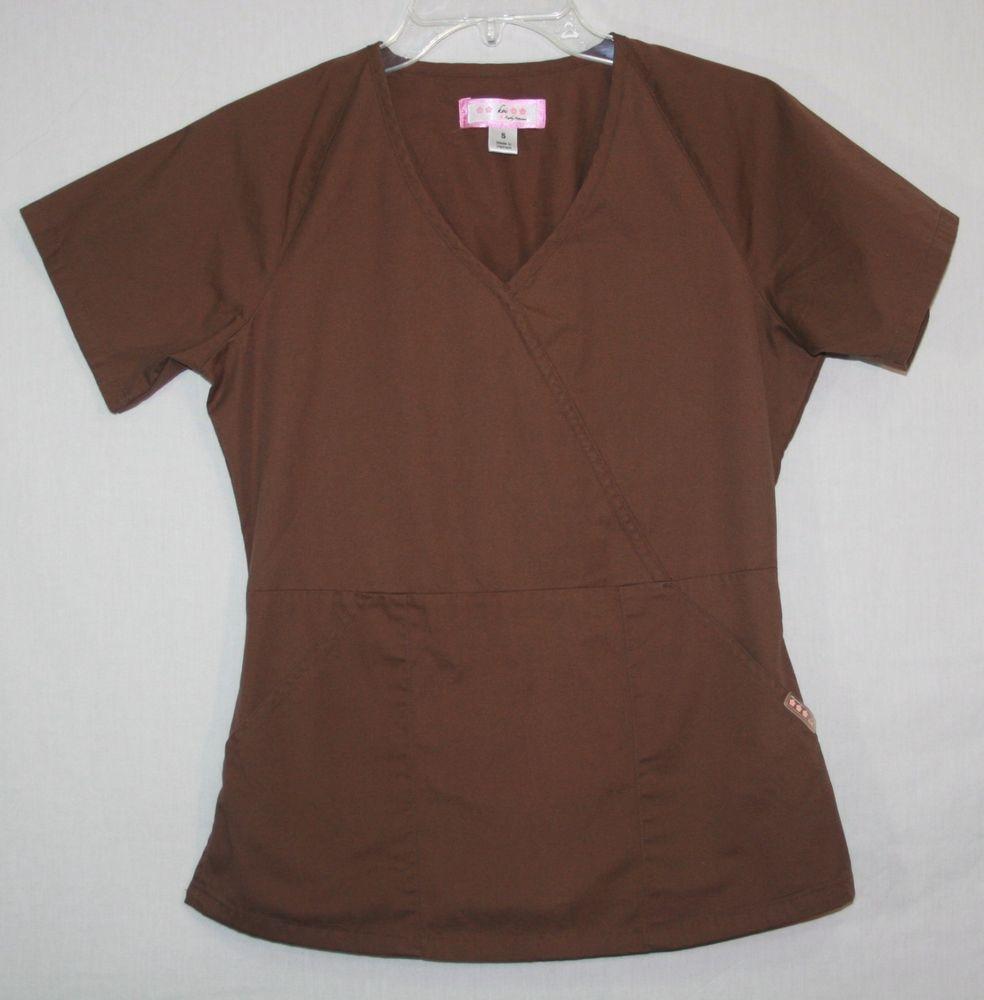 cac66e49924 Koi Kathy Peterson ANNIE Brown Scrub Top Small Mock Wrap Style 107 #Koi