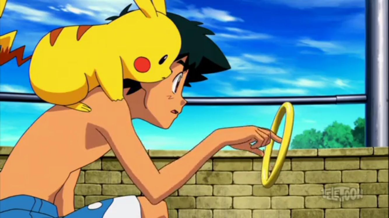 Shirtless Ash From The Movie Hoopa And The Clash Of Ages Pikachu Hoopa Pokemon Ash Ketchum