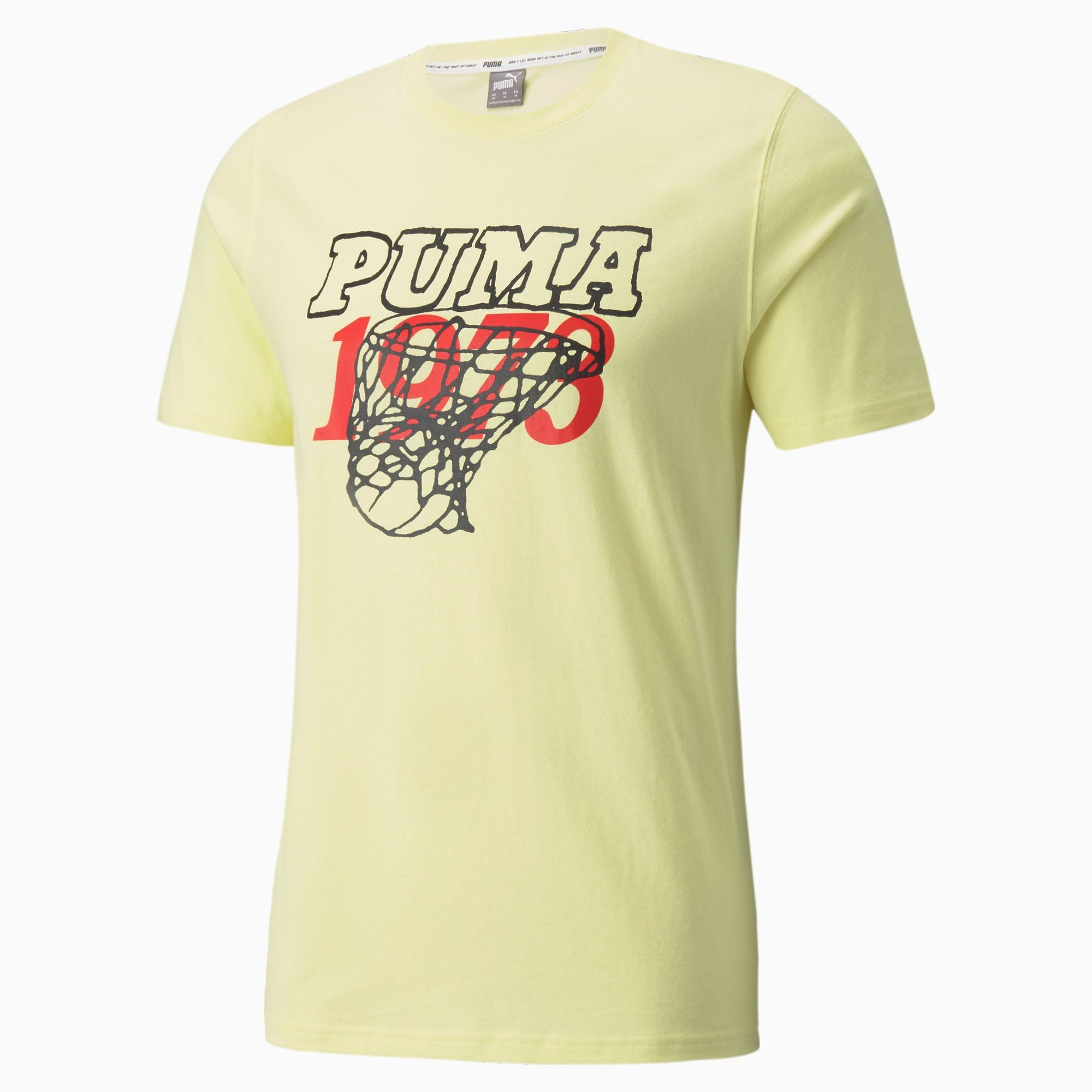 Give your outfit a style boost with the Scouted Tee. This must-have addition to your wardrobe merges a classic cut with stand-out design details for a winning combo you're sure to love. The bold graphics channel retro vibes and big-cat inspiration, creating a fearless, head-turning look.. Visit our page to learn more about our yellow pear PUMA Scouted Short Sleeve Men's Basketball T-Shirt, Yellow Pear, size Medium, Clothing.