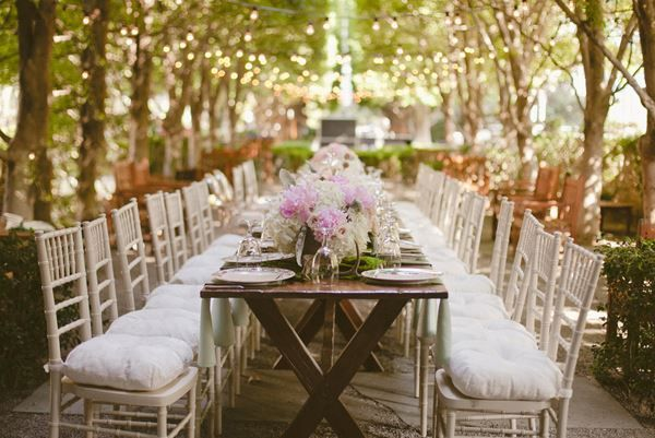 Dallas Garden Wedding Table Tables Down A Tree Row With Lights Above