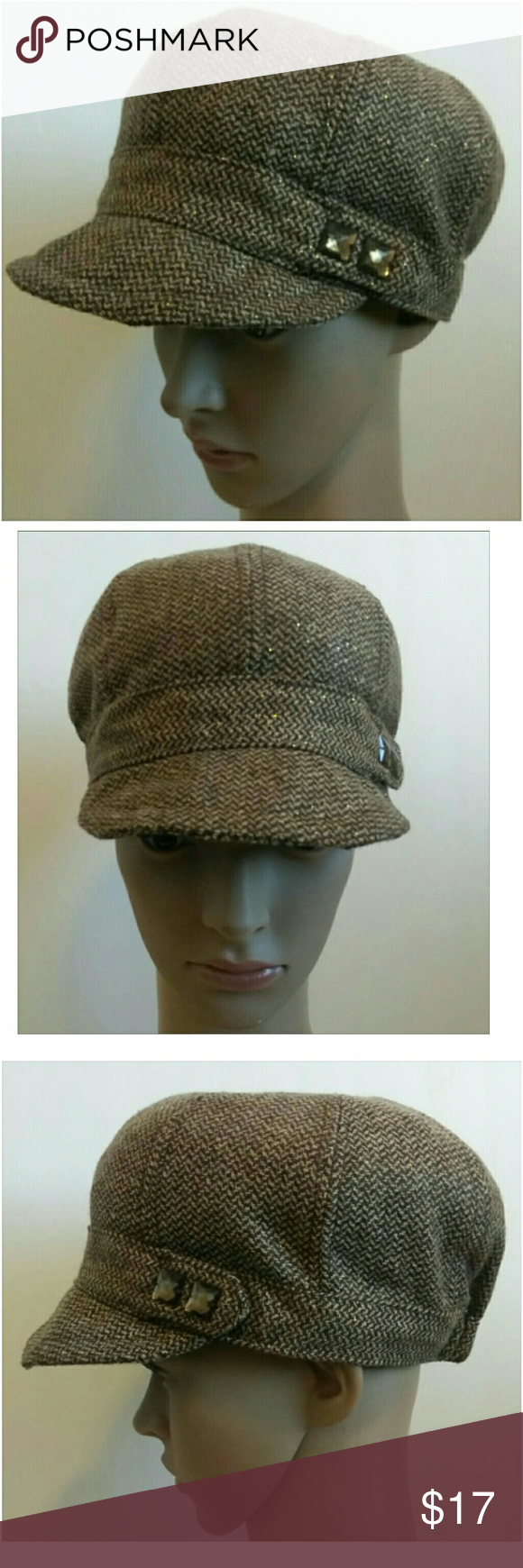 Herringbone Brown Tan Shimmery Newsboy Cabbie Hat Women s Cabbie Hat Brown  Herringbone w  Gold Metallic Shimmer One size fits most Colors may appear  ... 008f57445c45