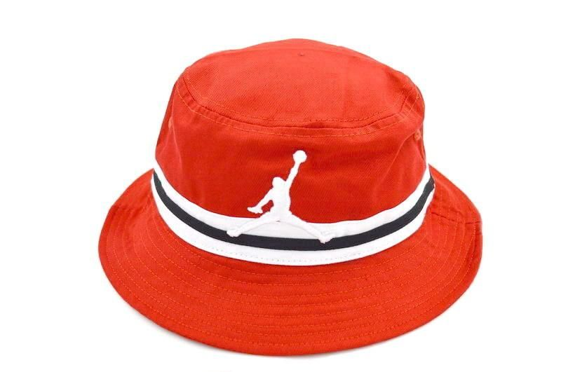 Mens Air Jordan The Jumpman Embroidery Logo White   Black Striped Trendy  Fashion Sports Fishing Bucket Cap - Red 7bbb19e014ae