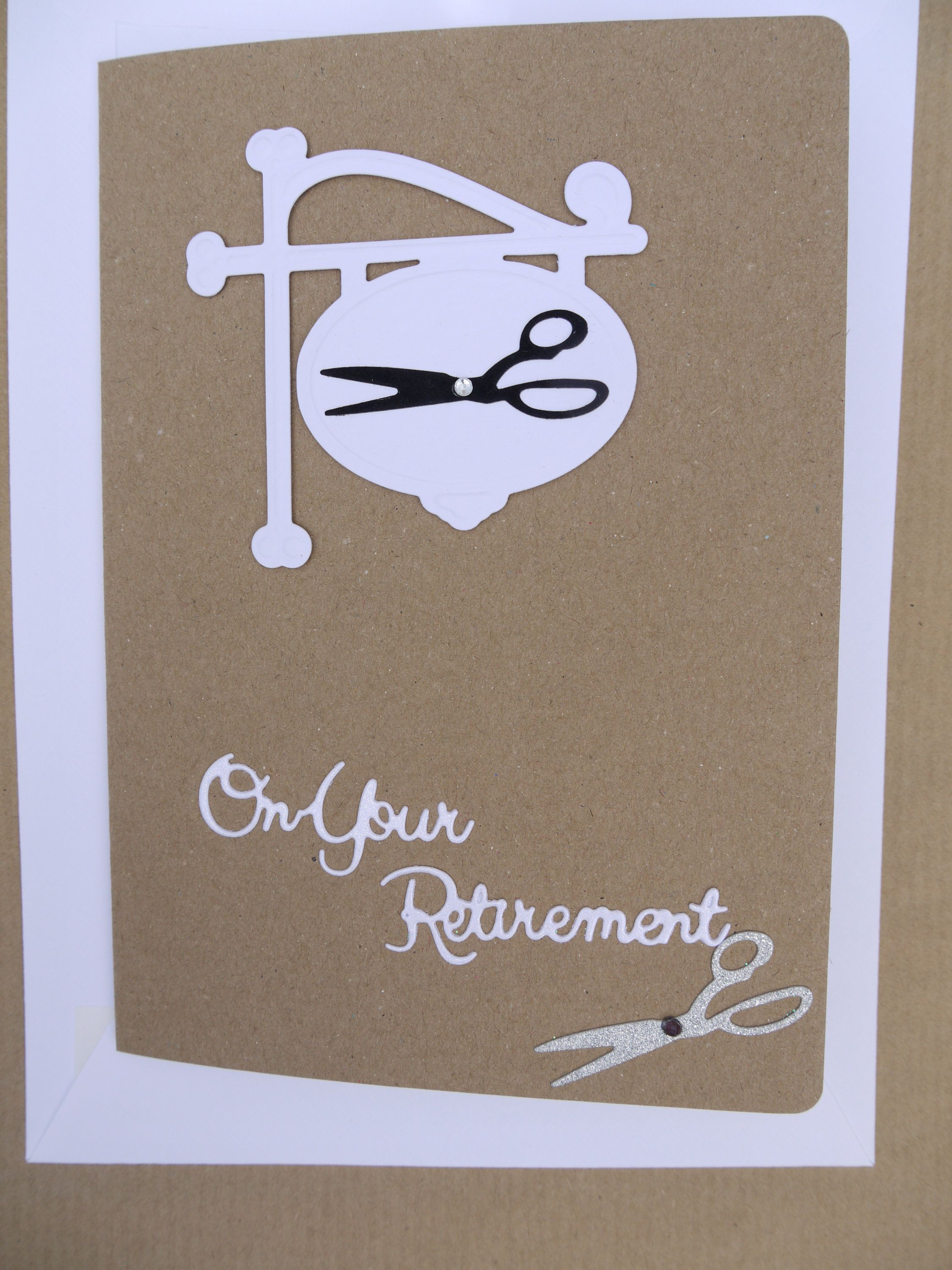 Retirement card handmade hairdresser scissors dressmaker barber