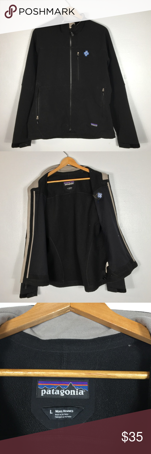 PATAGONIA Company Issue Logo Black Jacket Size L