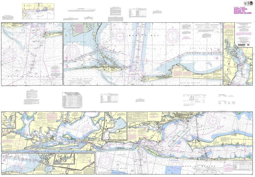 noaa nautical chart intracoastal waterway santa rosa sound to dauphin island