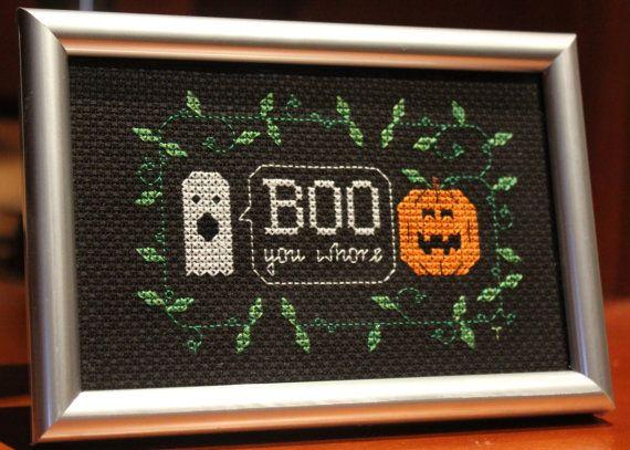 Minimalist Halloween decor - boo you whore needlepoint