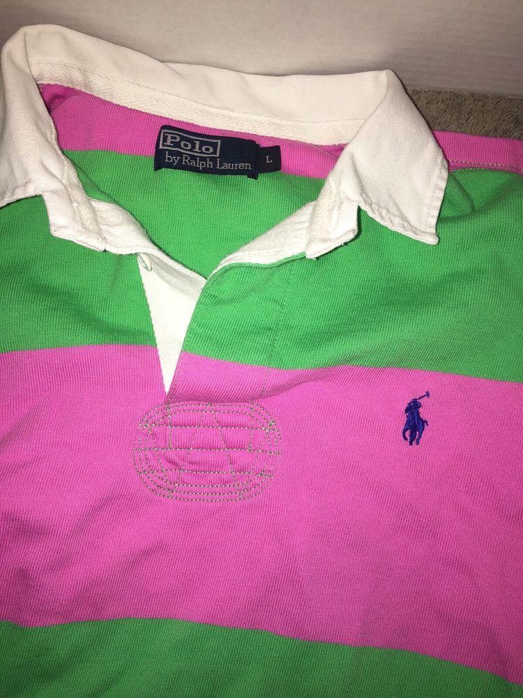 4280a718e70 Vintage Polo Ralph Lauren Rugby Shirt Long Sleeve Green Pink Stripe Men s L  RARE