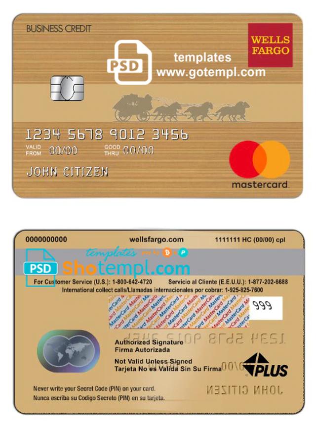 Usa Wells Fargo Bank Mastercard Template In Psd Format Fully Editable Wells Fargo Fargo Templates